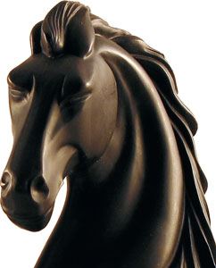 STALLION HORSE HEAD BOOKENDS, hand patinated bronze