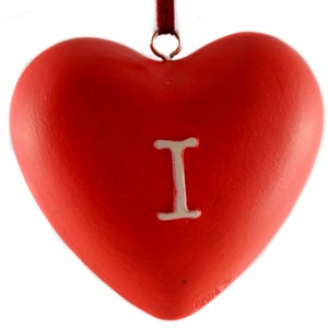 """I love you"" Heart Ornament"